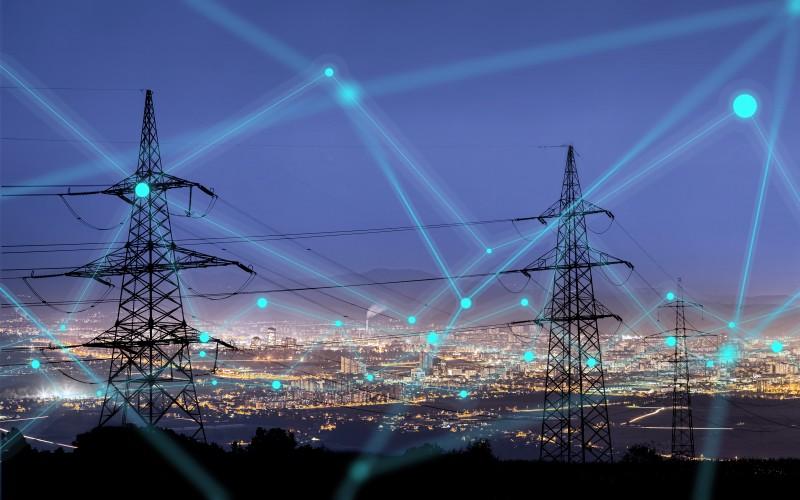 transmission tower at night