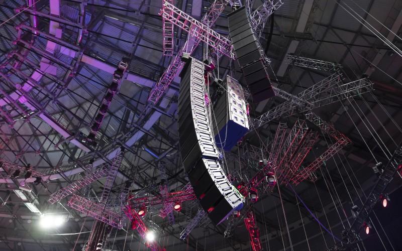 Loudspeaker on ceiling of TV studio