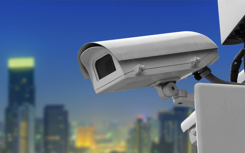 Security Camera with blue background